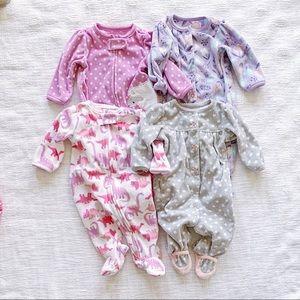 Carters 4 Piece Bundle Fleece Footie Pajamas 0-3